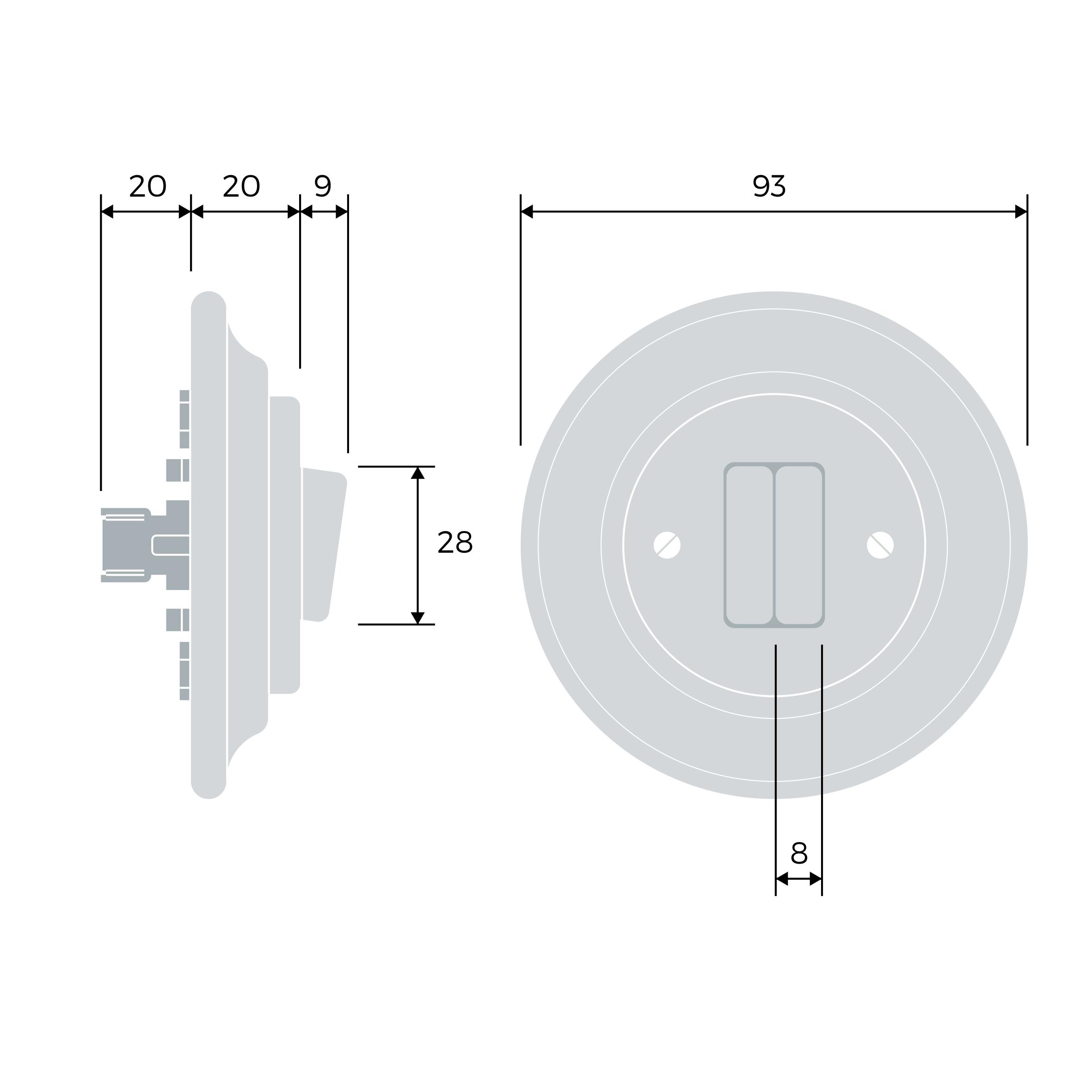Roo Porzellan Lichtschalter - 2 Tasten - AURUM | Katy Paty