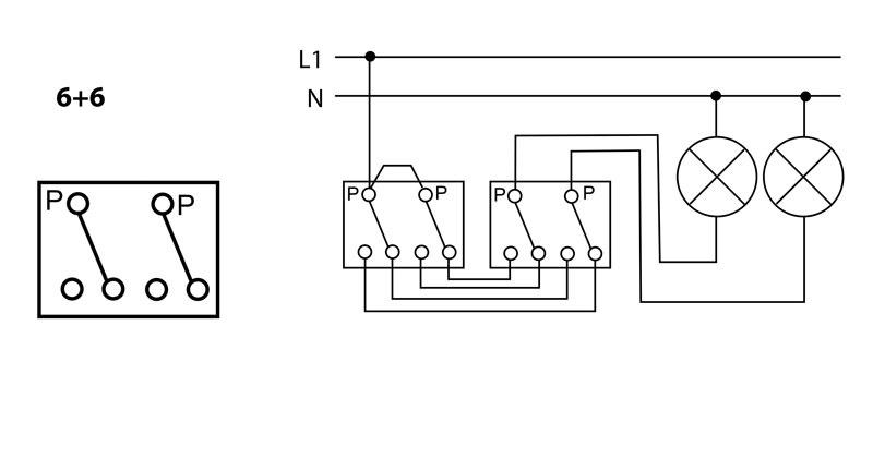 wechselschaltung 2 schalter 2 lampen 2 steckdosen. Black Bedroom Furniture Sets. Home Design Ideas