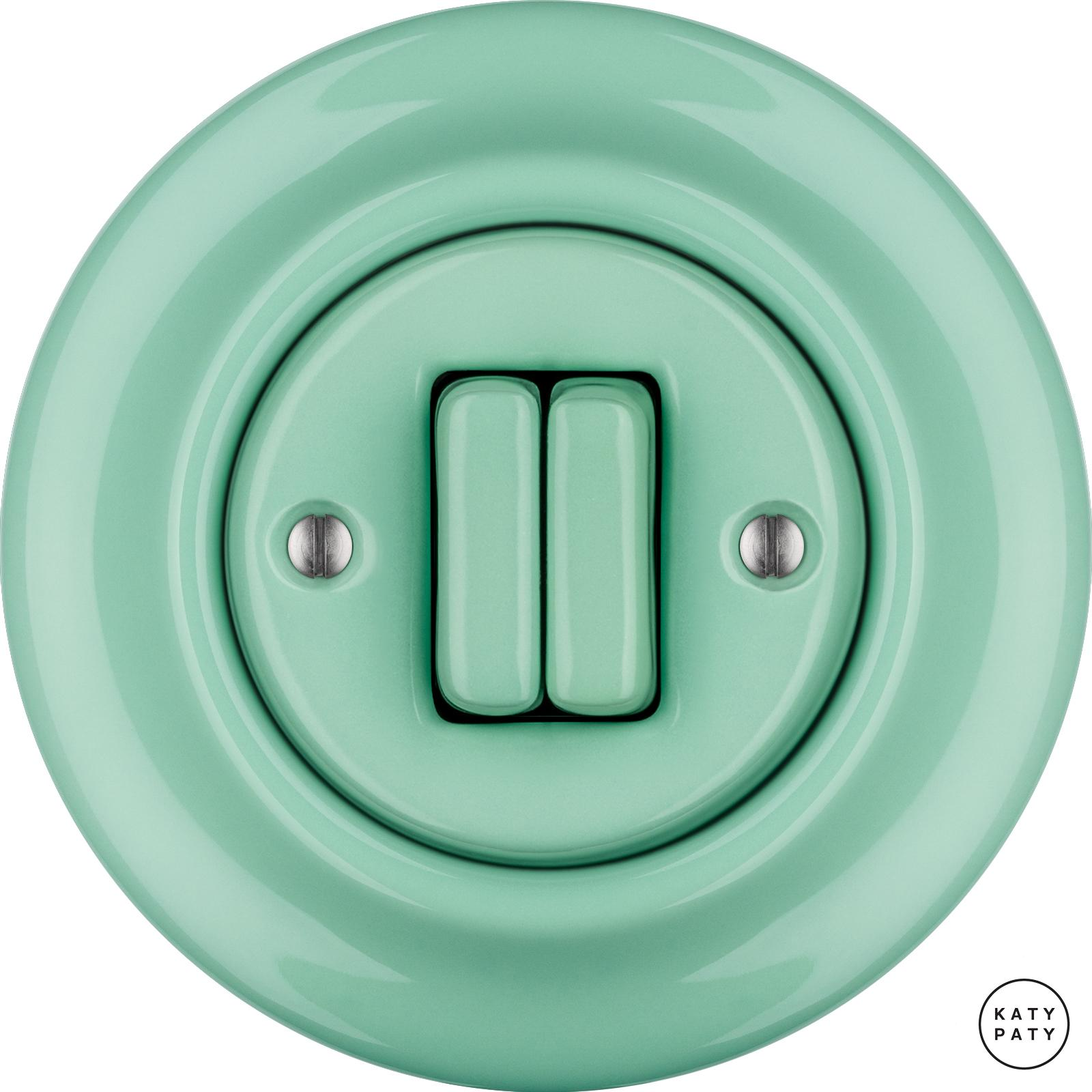 Roo Porzellan Lichtschalter - 2 Tasten - PNOE MENTOL   Katy Paty