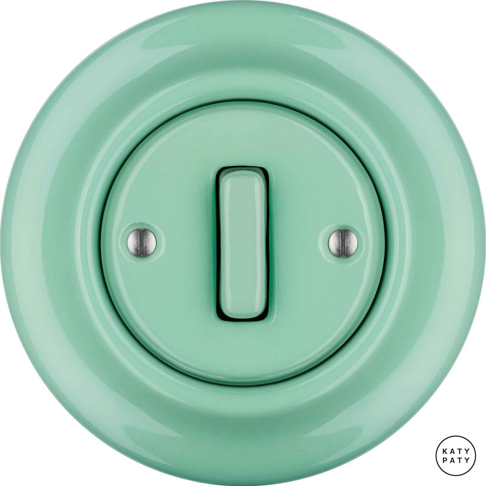 Roo Porzellan Lichtschalter - 1 Taste – SLIM - PNOE MENTOL   Katy Paty